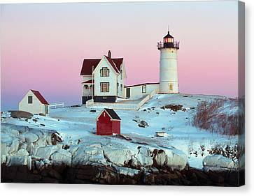 Icy Nubble Lighthouse Canvas Print by Eric Gendron