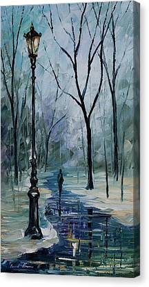 Icy Path - Palette Knife Oil Painting On Canvas By Leonid Afremov Canvas Print by Leonid Afremov