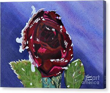 Icy Rose Watercolor Art Painting Canvas Print by Valerie Garner