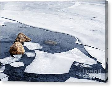 Thaw Canvas Print - Icy Shore In Winter by Elena Elisseeva