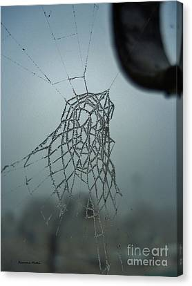 Canvas Print featuring the photograph Icy Spiderweb by Ramona Matei