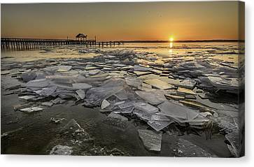 Icy Sunrise Canvas Print by Michael Donahue
