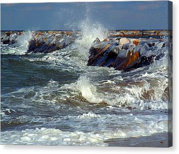 Icy Temperatures In Northeast Canvas Print by Dianne Cowen