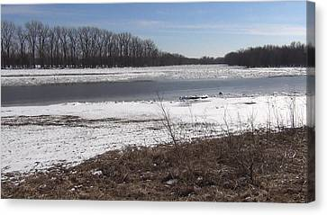Canvas Print featuring the photograph Icy Wabash River by Tony Mathews