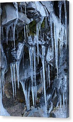 Icycles On Cliff Canvas Print by Carol Groenen