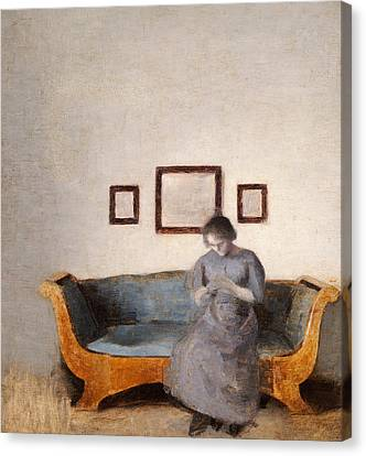 Ida Hammershoi Sitting On A Sofa Canvas Print by Vilhelm Hammershoi
