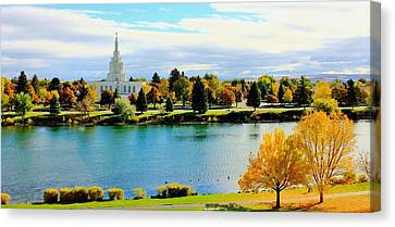 Canvas Print featuring the photograph Idaho Falls Temple by Benjamin Yeager