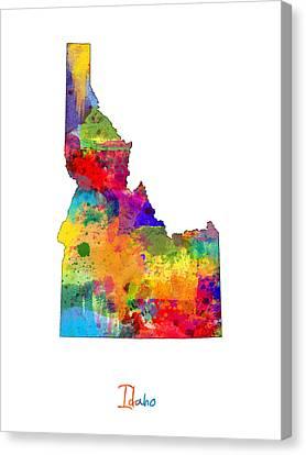 Idaho Map Canvas Print by Michael Tompsett