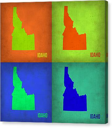 Idaho Pop Art Map 1 Canvas Print by Naxart Studio