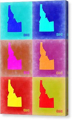 Idaho Pop Art Map 2 Canvas Print by Naxart Studio
