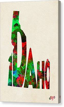 Idaho Typographic Watercolor Map Canvas Print by Ayse Deniz