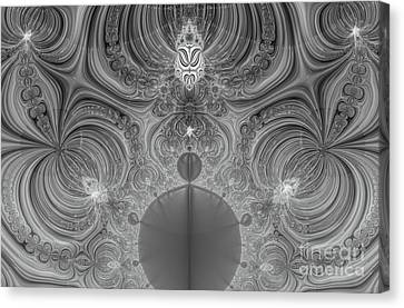Idea And Echo Abstract Black And White Digital Art Canvas Print by Valerie Garner