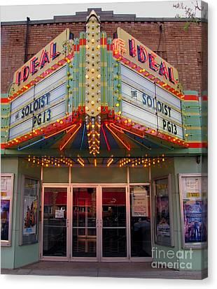 Clare Michigan Canvas Print - Ideal Theater In Clare Michigan by Terri Gostola