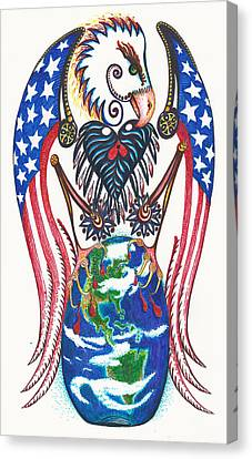 Idealistic Eagle With A Blue Egg Canvas Print by Melinda Dare Benfield