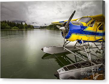 Idle Float Plane At Juneau Airport Canvas Print by Darcy Michaelchuk