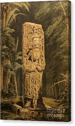 Idol At Copan By Frederick Catherwood Canvas Print by John  Mitchell
