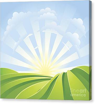 Sun Rays Canvas Print - Idyllic Green Fields With Sunshine Rays And Blue Sky by Christos Georghiou