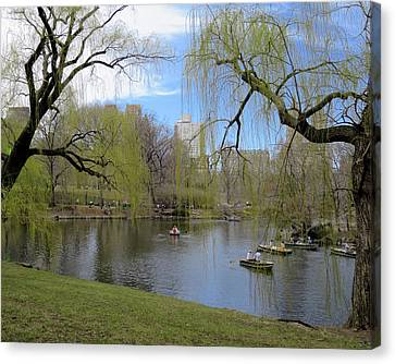 Idyllic Spring Day In Central Park Canvas Print by Muriel Levison Goodwin