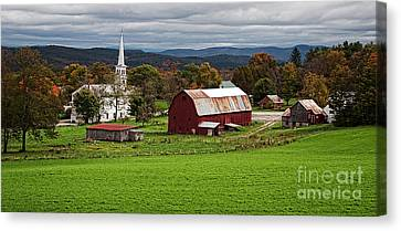 Idyllic Vermont Small Town Canvas Print by Edward Fielding