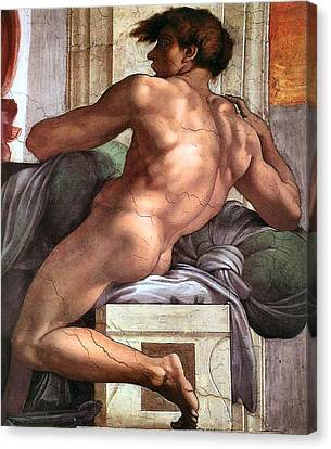 Ignudo Number One Of 1511 Canvas Print by Michelangelo Buonarroti