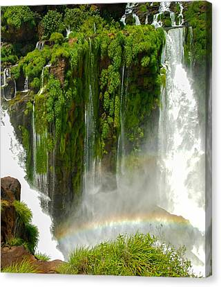 Canvas Print featuring the photograph Iguazu Falls By Mike-hope by Michael Hope