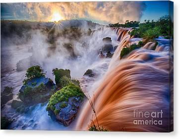 Misty Canvas Print - Iguazu Sunrise by Inge Johnsson