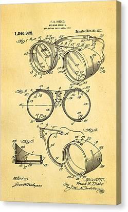 Ihrcke Welding Goggles Patent Art 1917 Canvas Print by Ian Monk