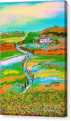 Canvas Print featuring the painting  Tuscan Countryside by Loredana Messina