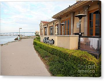 Il Fornaio Italian Restaurant In Coronado California Overlooking The San Diego Coronado Bridge 5d243 Canvas Print by Wingsdomain Art and Photography