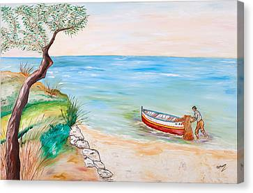 Canvas Print featuring the painting Il Pescatore Solitario by Loredana Messina