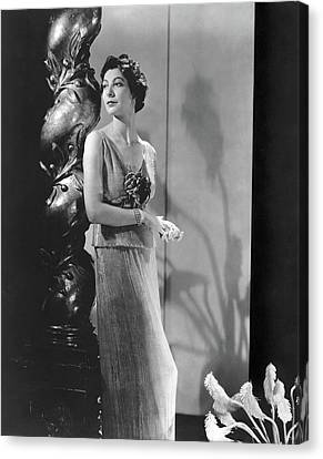 Decolletage Canvas Print - Ilka Chase Wearing A Mainbocher Dress by Horst P. Horst
