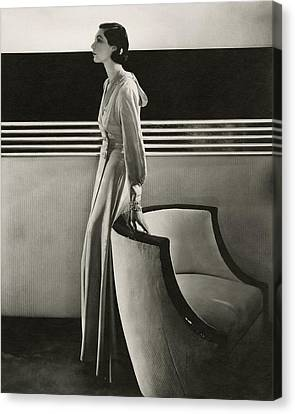 Profile Canvas Print - Ilka Chase Wearing Black Starr And Frost-gorham by Edward Steichen