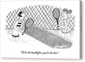 Tennis Canvas Print - I'll Be The Headlights by Victoria Roberts
