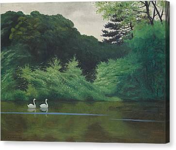 Ille Du Lac Saint James Canvas Print by Felix Edouard Vallotton