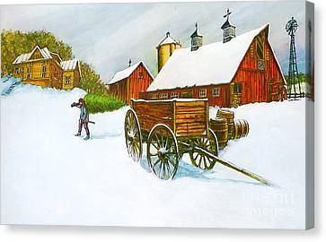 Illinois Farm With Barn In Winter Canvas Print