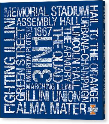 Illinois College Colors Subway Art Canvas Print