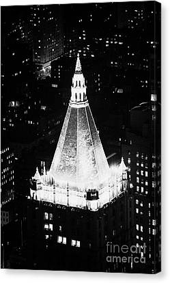 Illuminated Night View Of New York Life Insurance Co Building Roof New York City Canvas Print by Joe Fox