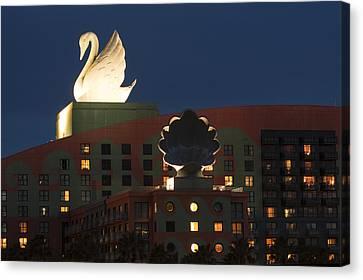 Illuminated Swan Hotel Canvas Print by Andrew Soundarajan
