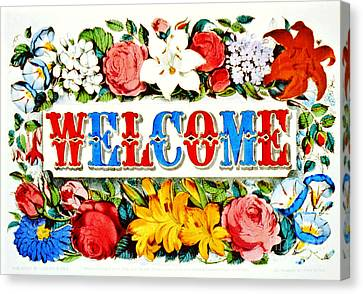 Illuminated Welcome Sign 1873 Canvas Print by Padre Art
