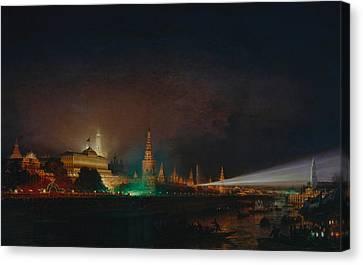 Illumination Of The Kremlin Canvas Print by Aleksei Petrovich Bogolyubov