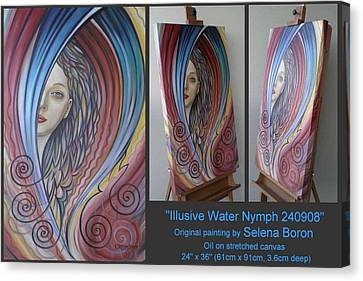 Canvas Print featuring the painting Illusive Water Nymph 240908 by Selena Boron