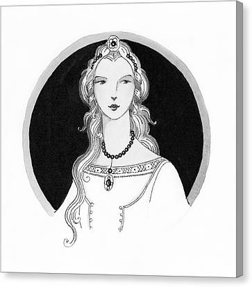 Illustrated Portrait Of A Woman Canvas Print by Claire Avery