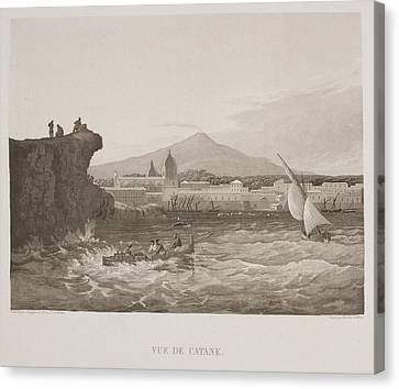 Illustrated View Of Sicilian Harbour Canvas Print by British Library