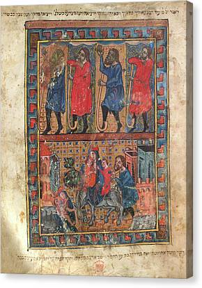 Illustration From A Haggadah Canvas Print by British Library