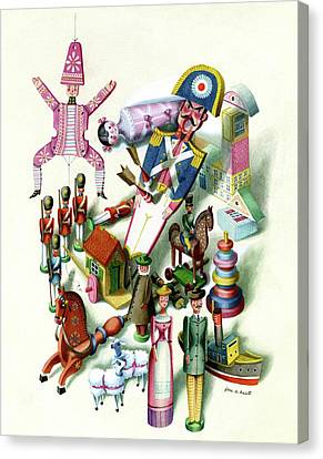 Toy Boat Canvas Print - Illustration Of A Group Of Children's Toys by Jan B. Balet