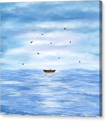 Illustration Of A Lonely Boat Canvas Print