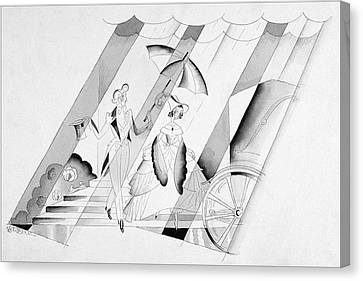 Illustration Of A Man Holding An Umbrella Canvas Print by John Barbour