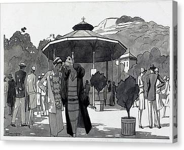 Park Scene Canvas Print - Illustration Of A People At A Fountain In Aix Les by Pierre Mourgue