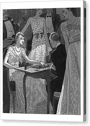 Illustration Of A Woman And Man Playing Backgammon Canvas Print by Pierre Mourgue