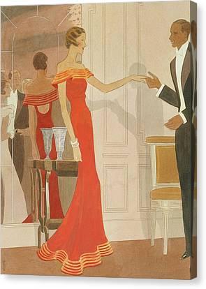 Illustration Of A Woman At A Debutante Ball Canvas Print